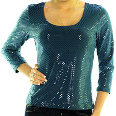 NEW MADE In USA Womens Tops TEAL BLUE Color 3/4 Sleeve Glitter Glitters Sparkle Sparkles Sparkly SEQUIN SEQUINS TOP Party Special Occasion Clothes size Small Women Fashion Wear Clothing