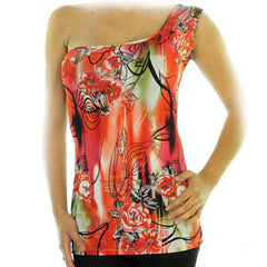 NEW MADE In USA Womens Tops RED ORANGE Color Floral Flowers Pattern Print Prints ONE Shoulder TOP Summer Clothes Women Sexy Casual Clothes Women Fashion Clothing Cheap Affordable Sun Wear Sunwear