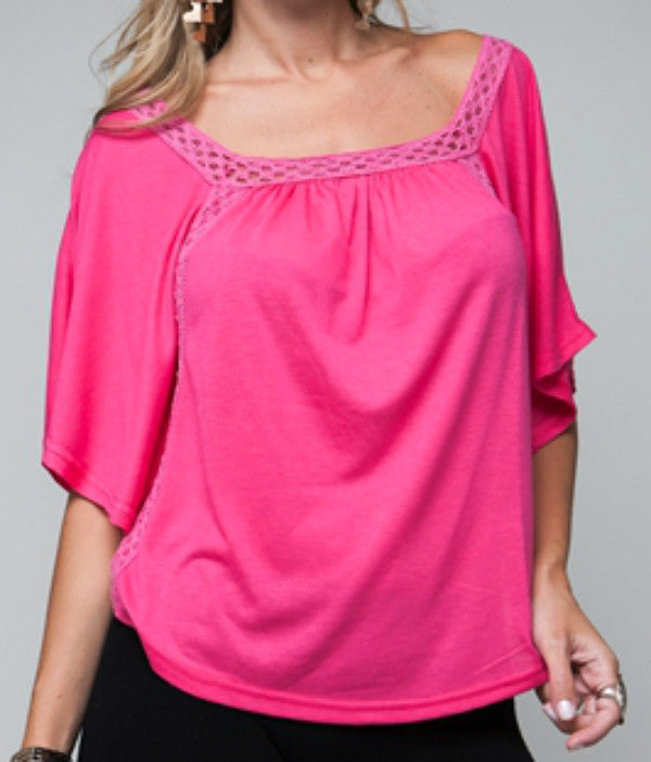 b9f0a269baccf NEW Womens HOT PINK FUCHSIA Color Squareneck BAT WING WINGS BATWING TOP  Blouse Sexy Summer Tops Clothes M L