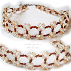 NEW Womens CREAM BEIGE Amber Brown BEADS BEADED Floral Flowers CHOKER NECKLACE