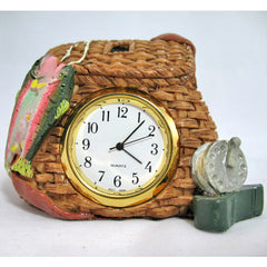 3D Ceramic Paperweight Nightstand Analog TIME CLOCK Fish Fisherman Basket Table Top Office Home Decors