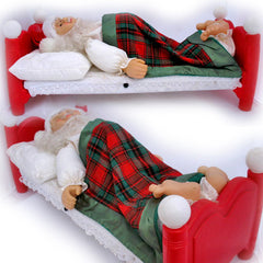 VINTAGE CHRISTMAS SLEEPING SANTA CLAUS ANIMATED Bed SNORE SNORING SITTING TALK TALKING Animated Animation Holiday Decors Decorations