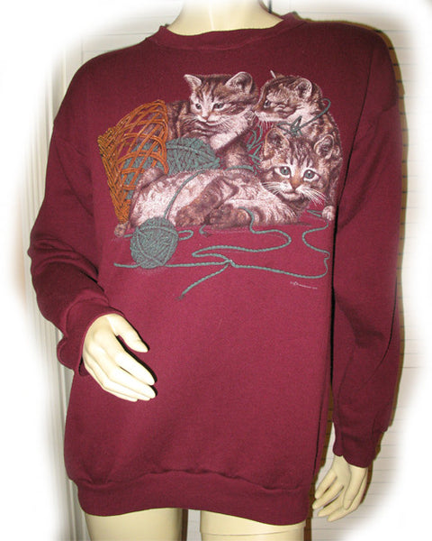 Womens Sweaters Tops RED BURGUNDY CAT CATS Animal Prints SWEATER TOP Long  Sleeve  d9f03bf13