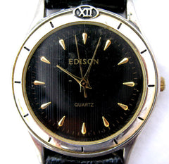 EDISON Womens Mens Unisex BLACK DIAL GOLD Wristwatch WATCH Leather Band