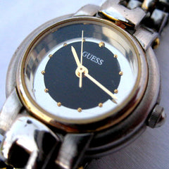 GUESS Gold Silver Tone Mirror Black Dial Womens Wristwatch WATCH Ladies Watches Analog