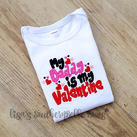 My Daddy is my Valentine, Valentine's Day Layette Gown for Baby Girls