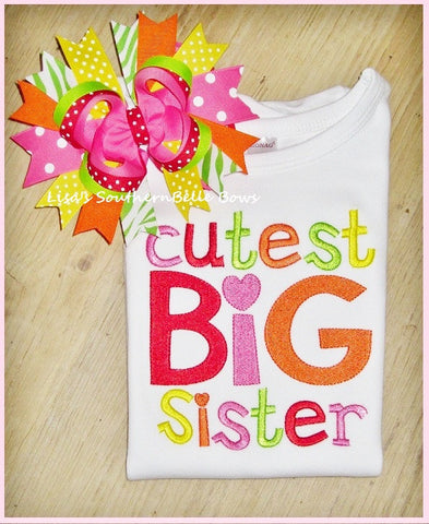 Cutest Big Sister, Big Sister Sibling Shirt, New Baby Announcement, Shirt for Girls