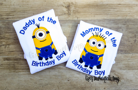 Minion Mom and Minion Dad TShirts, Minion Birthday Shirts for Adults
