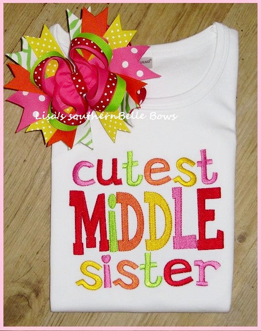 Cutest Middle Sister, Big Sister Sibling Shirt, New Baby Announcement, Shirt for Girls