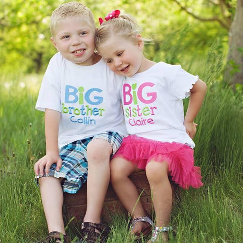 Big Sister Sibling Shirt, Personalized tshirt for little girls, New Baby, Birth Announcement