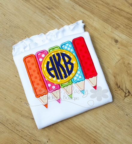 Colored Pencils Back to School Applique Shirt