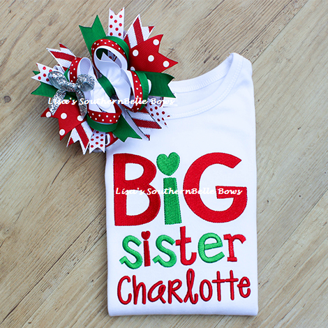 Big Sister, Christmas Sibling Shirt, New Baby Announcement