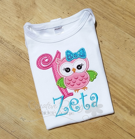 First Birthday Owl Applique for Little Girls, Birthday Shirt