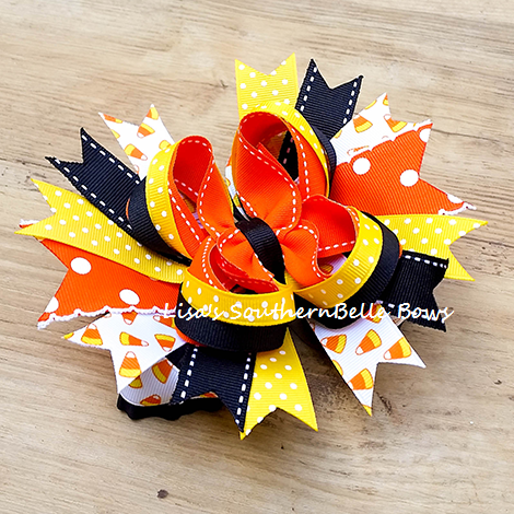 Candy Corn Cutie, Halloween Hair Bow, Over the Top Boutique Bow