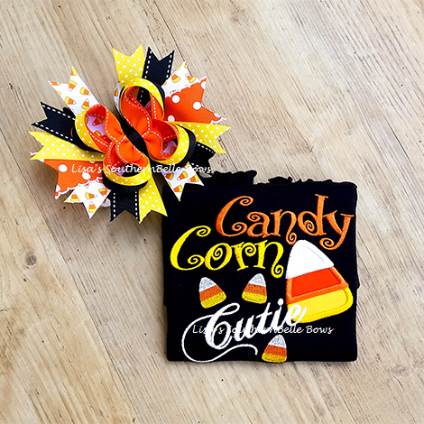 Candy Corn Cutie, Halloween Shirt for Girls and Hair Bow
