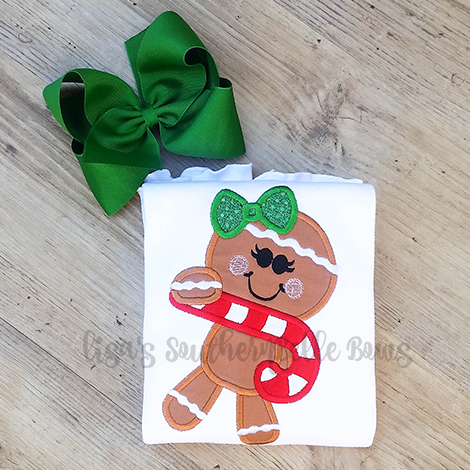 Candy Cane Gingerbread Girl, Christmas Gingerbread Applique Shirt for Little Girls