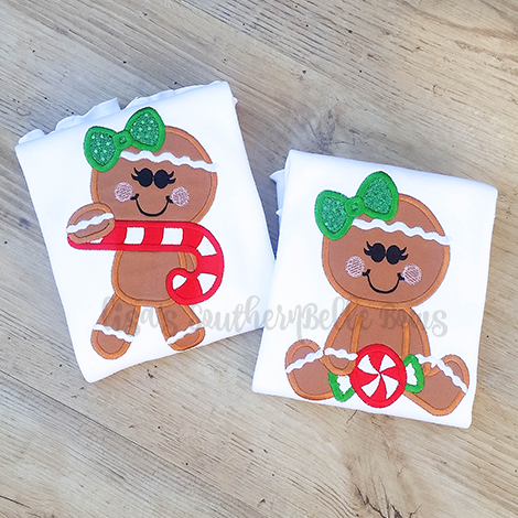 Gingerbread Girl, Christmas Gingerbread Applique Shirt for Little Girls