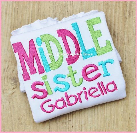Middle Sister, Big Sister Sibling Shirt, Personalized Shirt