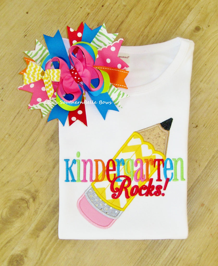 Kindergarten Rocks, Back to School, First Day of School TShirt, Chevron Pencil Applique Shirt