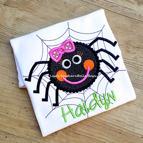 Itsy Bitsy Dotted Glitter Spider, Halloween Vinyl Applique Shirt for Girls- New Item