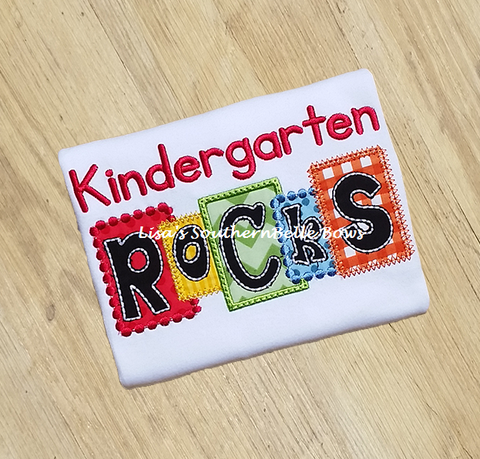 Kindergarten ROCKS, Back to School Block TShirt- New Item