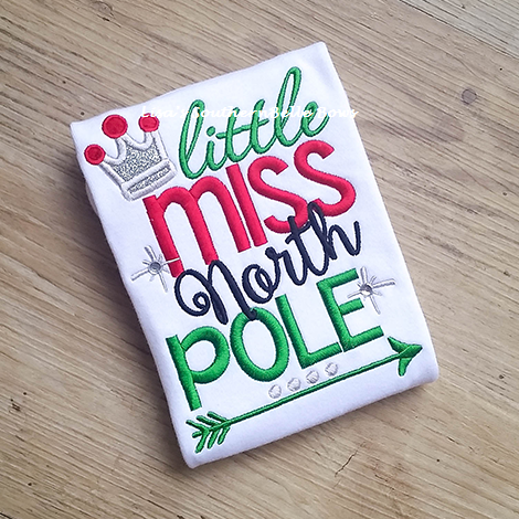 Little Miss North Pole, Christmas Shirt for Girls