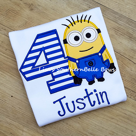 Minion Birthday Shirt, Birthday Applique