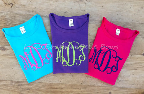 Monogram TShirt, Intertwined Interlocking Monogram, 3 Letters