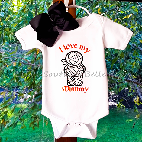 Embroidered Halloween Shirt for Girls, Mummy Applique, I love my mummy