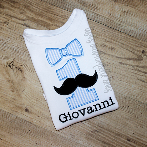 Boys First Birthday, Mustache First Birthday Shirt with Bowtie