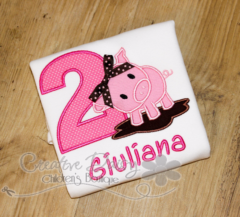 Pig Birthday T-Shirt for Little Girls