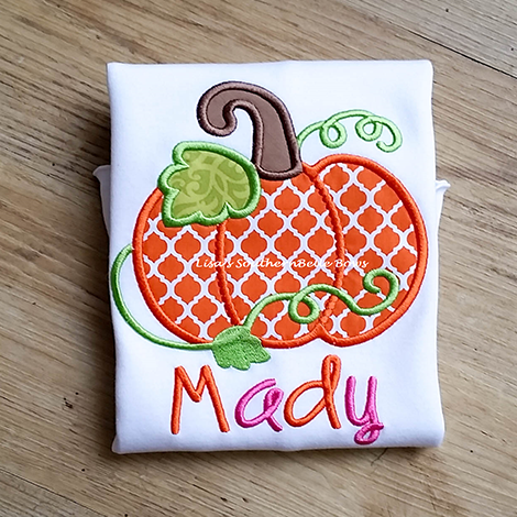 Pumpkin Thanksgiving Applique Shirt for Girls