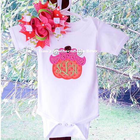 Pumpkin Bow, Monogram Fall Thanksgiving Shirt for Girls- New Item