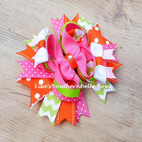 Pumpkin Boutique, Fall Thanksgiving Over the Top Hair Bow- New Item