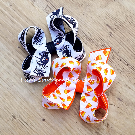 Itsy Bitsy Spider and Candy Corn Cutie, Halloween Hair Bow, Collection Set