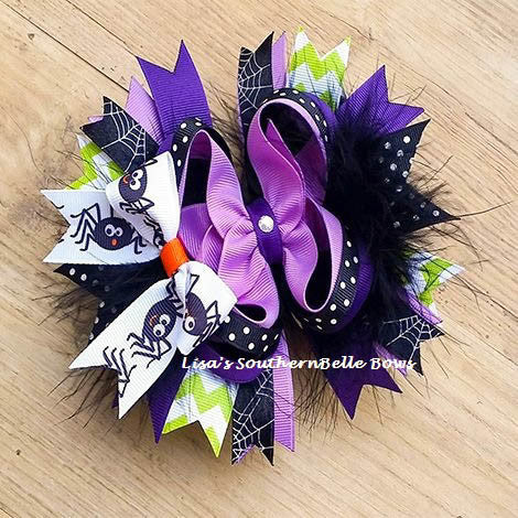 Spider Boutique, Over the Top, Halloween Hair Bow for Girls- New Item