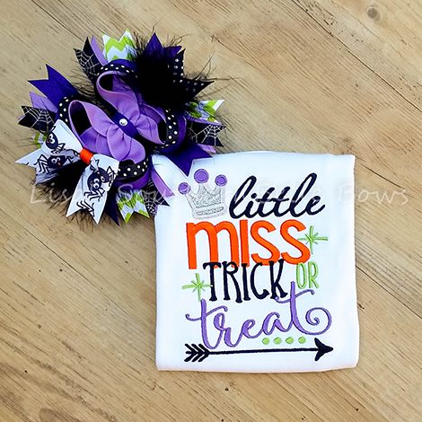 Little Miss Trick or Treat, Halloween Shirt for Girls