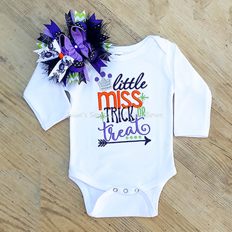3-6 month Ready to Ship, Little Miss Trick or Treat, Halloween Set for Girls