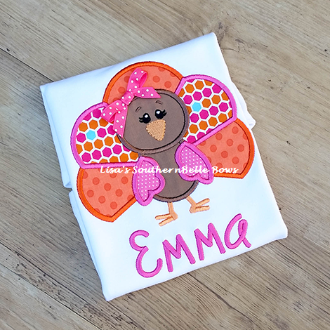 Personalized Thanksgiving Turkey Shirt for Girls