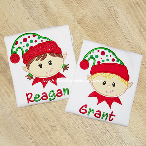Elf on the Shelf, Christmas Elf Applique Shirt for Kids