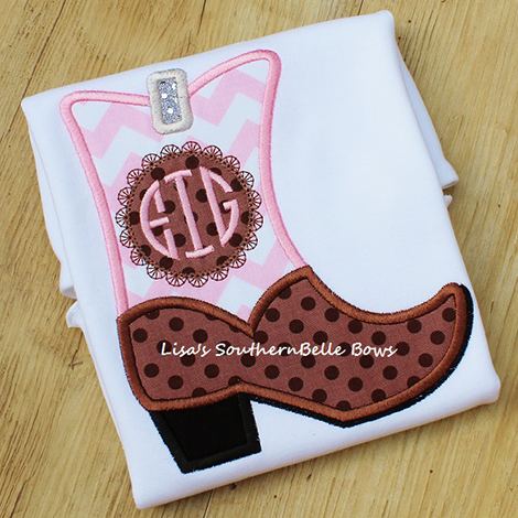 Monogram Cowgirl Boot Applique Shirt