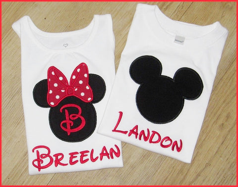 Minnie Mouse and Mickey Mouse Applique Shirts, Disney World