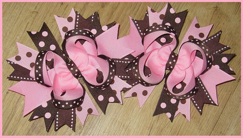 Pink and Brown Boutique Hair Bow