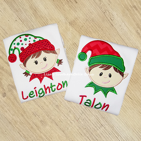 Elf Christmas Shirts, Santa's little Elf Applique, Sibling Shirts for Girls and Boys