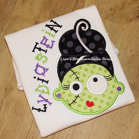 Frankenstein's Bride, Halloween Applique Shirt for Girls