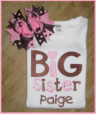 Big Sister, Sibling Shirt, New Baby, Birth Announcements