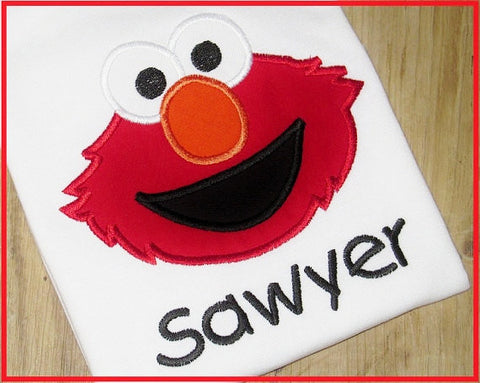 Elmo Applique, Sesame Street Character T-Shirt for Girls or Boys