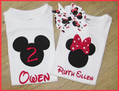 Disney Minnie and Mickey Mouse, Applique Shirts, Disney World