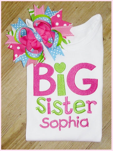Big Sister, Big Sister Sibling Shirt personalized with name,  New Baby, Baby Announcement