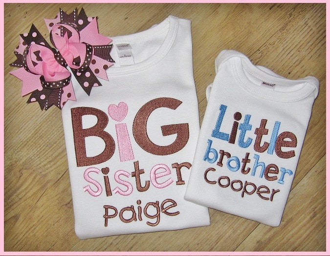 Big Sister, Little Brother with Personalized Name, Sibling Set, New Baby, Birth Announcements